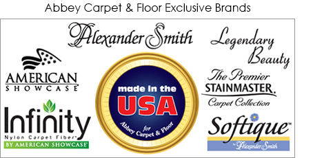 Made in the U.S.A. for Abbey Carpet & Floor. Alexander Smith, Legendary Beauty, American Showcase, The Premier Stainmaster® Carpet Collection.  Softique™ by Alexander Smith, Infinity Nylon Carpet Fiber™ by American Showcase®.
